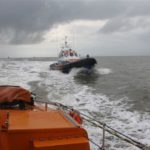 The KNRM Lifeboat from Breskens, NL escorts the Fraser Lifeboat into port
