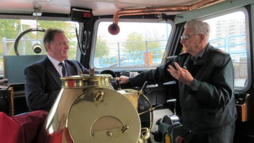 Martin Quinn, Commodore Royal Navy and Commander Maritime Reserves for the UK touring the Delta Lifeboat with John Horton